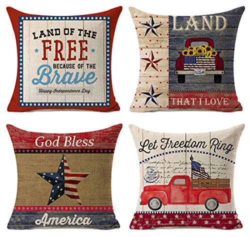 Kithomer Independence Day American Flag Pillow Covers 4th of July Patriotic Truck Throw Pillow Case Farmhouse Decorative Cushion Cover for Sofa 18 x 18 Set of 4