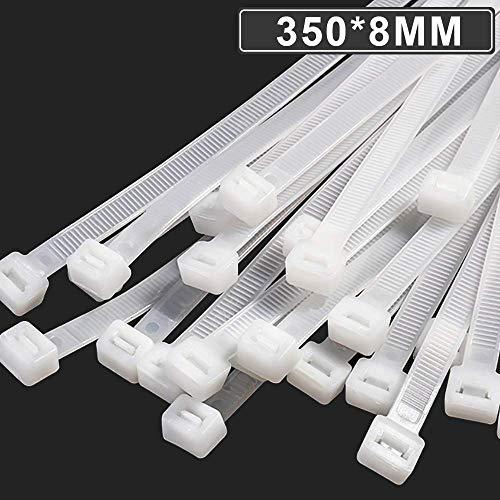 Caiery 100 Stück Große lange Kabelbinder, UV-Beständig ultra starke Kabelbinder mit 50 kg Zugfestigkeit,Weiß