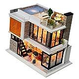 Baoblaze 1:24 Moderne 3 Etagen Puppenhaus Villa mit Puppen Set, inkl. Terrasse und Schwimmbad