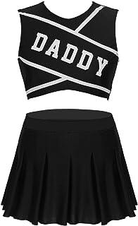 YOOJIA Women Girls Daddy Printed Cheer Leader Uniform Dress Cosplay Costume Outfits