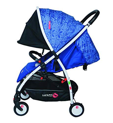 Baciuzzi, passeggino leggero, pieghevole compatto con chiusura lampo semplice e pratica ad una mano, passeggino accessoriato, traspirante, BX Frà Blue