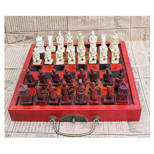 Inicio Accesorios Tablero de ajedrez Ajedrez de madera plegable Ajedrez de guerreros de terracota retro chino Ajedrez de madera Tallado antiguo Ajedrez de resina Regalo de cumpleaños de Navidad Jue