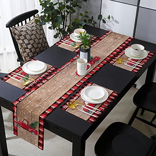 Juego de 4 manteles individuales con camino de mesa para cocina, mesa...