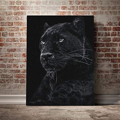 cuadros - 50x70cm - Sin marco - salvaje negro diseño fresco pantera cartel lienzo pared arte decoración