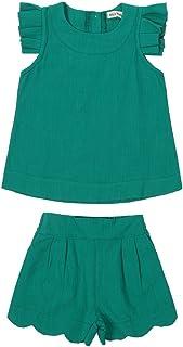 Mornyray 子供服 ノースリーブ タンクトップ 上着 袖なし ハーフパンツ ショートパンツ キッズ 上下セット 女の子 コットン 純色 2-8歳 size 120 (緑)