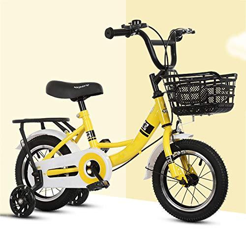 CGBF-Bicicletta per Bambini con Ruota Ausiliaria Flash,Bicicletta Sportiva per Bambini per Ragazze Ragazzi dai 3 Ai 12 Anni,Giallo,16 inch