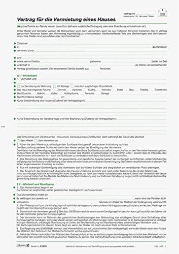 Baier & Schneider Vertragsformular Mietvertrag Häuser, A4, 5 Blatt