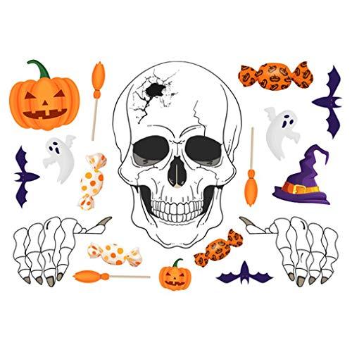 Halloween Wandaufkleber Fenster Aufkleber Selbstklebende Wandtattoos Fledermäuse Schädel Kürbis Aufkleber für Halloween Party Wand Fenster Dekorationen