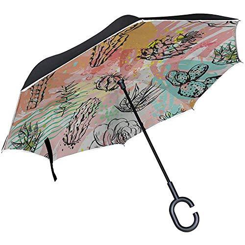 ETGeed Inverted Inverted Umbrella Bunter schöner Kunstgemüse Ladies Reverse Umbrella für Regen