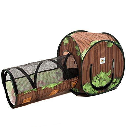 aussergewoehnlich® 2-in-1 Schlafhöhle mit Tunnel für Kleintiere Katzen Welpen Spielhaus