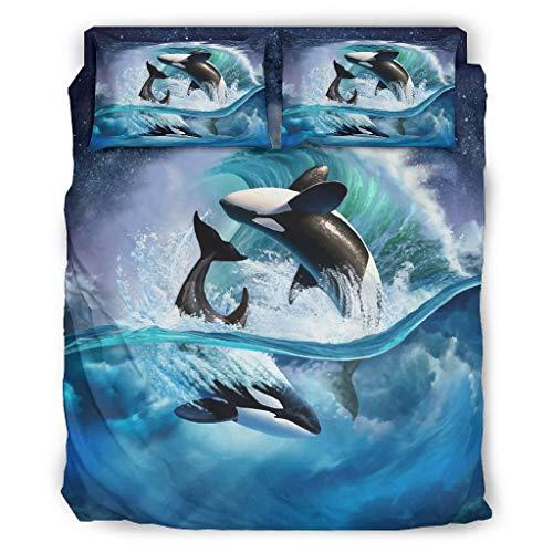 MiKiBi-77 The Whales Juego de cama suave l - Ropa de camaSan Valentín blanco 240x264cm