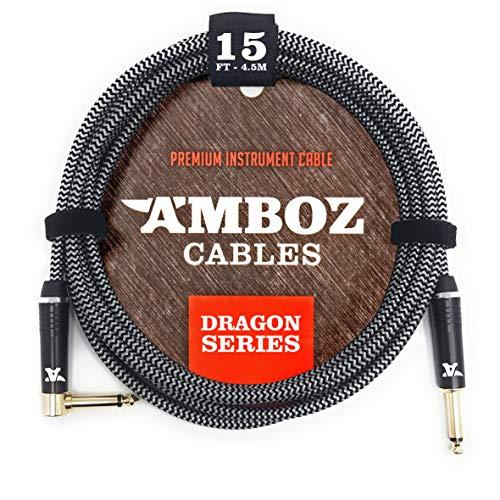White Dragon Instrumentenkabel 4.5m schwarz weiss- Geräuschloses Gitarrenkabel für die Elektrische und Bassgitarre - 6.35 mm mono (TS) Klinke Gerade auf Gewinkelt