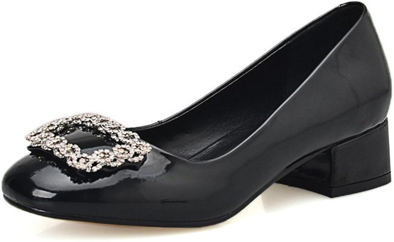 MINIVOG Women's Buckle-Style Square Toe Low Heel Pumps shoes
