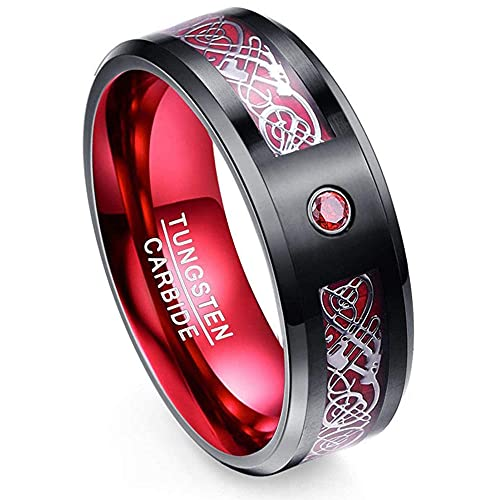 Molisi Pure Elemental Dragon Rings, Black Celtic Dragon Green Carbon Fiber Wedding Band, Cubic Zirconia Inlay, Men's 8mm Tungsten Carbide Ring-Red_10