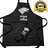 Premium Quality Dinner is Coming Game of Thrones Merchandise, Apron for Cooking, Baking, Grilling, Gardening, Cleaning, Sewing, Crafting, Woodworking or BBQ with Bonus Oven Mitt-Funny Gift