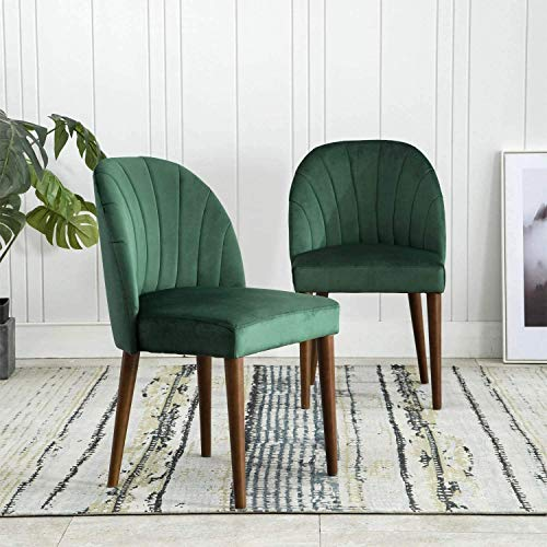 Wahson Velvet Dining Chairs with Wooden Legs Retro Design Cushion Thickening, Set of 2 Chairs for Dining Room/Living Room/Kitchen (Green)