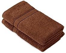 Pinzon by Amazon - Juego de toallas de algodón egipcio (2 toallas de manos), color marrón