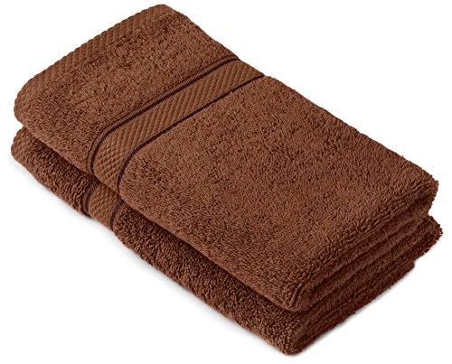 Pinzon by Amazon Handtuchset aus Baumwolle, Schokobraun, 2 Handtücher, 600g/m²