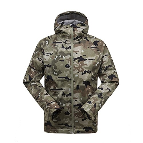 GSOU SNOW Homme Coupe-Vent Capuche Doublé Polaire Veste Softshell Outdoor Sport Veste de Camping Randonnée Escalade Manteau (Medium, Camo001)