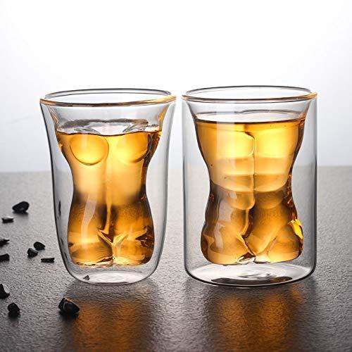 ARLT 2 unids de Pared de Doble Pared Kawaii Anti-Hot Male Hombre Cuerpo Café Copa de Vino Cerveza Cerveza Copas Lindas, Taza de café con Aislamiento de Doble Pared para Latte Cappuccino Leche Té Jugo