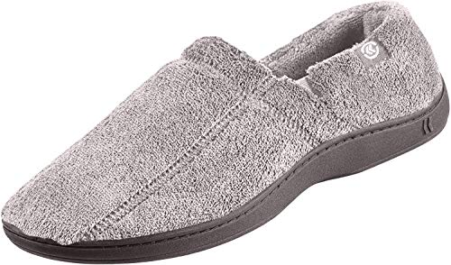 isotoner Men's Microterry Slip On Slipper, Charcoal Medium / 8-9 US