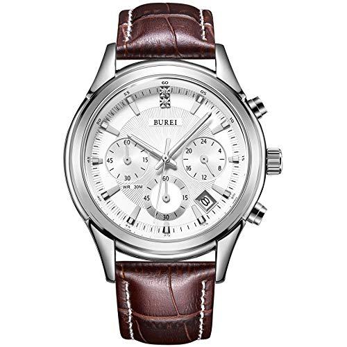 BUREI Cronografo quadrante bianco orologio da polso al quarzo con resistente ai...