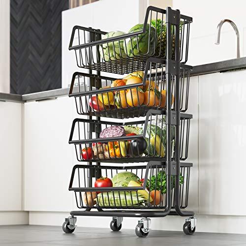 LIVOD - Carro móvil de acero inoxidable de 4 niveles con ruedas giratorias, estante para panaderos de cocina de pie para frutas y...