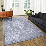 A2Z Rug|Santorini Grey Silver Medallion Design With Floral Border|Dining Room Modern Vintage Classic Area Rug|Soft Short Medium Pile|240 x 330 CM - 7'10'' x 10'10'' FT |Extra Large Area Carpet