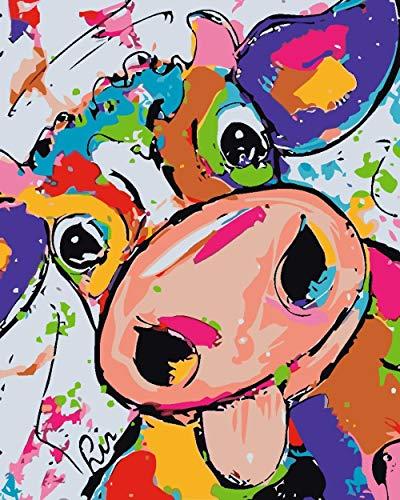 DIY Peinture par numéro - Vache de dessin animé - Peinture par pour Adultes avec Brosses et peintures acryliques pour Adultes Enfants Seniors Débutant 40x50cm (sans Cadre)