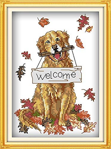 Bilibony Cross Stitch Welcome Dog Cross Stitch Kit Stamped Counted Cross Stitch Set Cross Stitch Painting Pattern Needlework Embroidery Set (Color : 14CT Stamped Product)