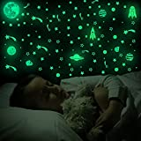 503 Pieces Planet Spaceship Glow Stars Stickers Glow in The Dark Fluo Green Moon Wall Decals Luminous Self-Adhesive Wall Stickers Fluorescent Star Ceiling Stickers Decals for Bedroom Kids Room Decor