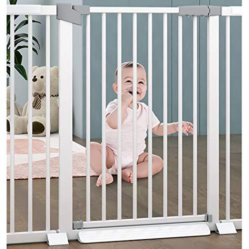 Treppenschutzgitter Auto-Close Baby Sicherheitstor Treppe Leitplanke Zaun Schlagfreies Gehen Durch Schutzzaun Druckanpassung Haustier Hund Isolationstor F.(Color:Weiß,Size:132-139cm )