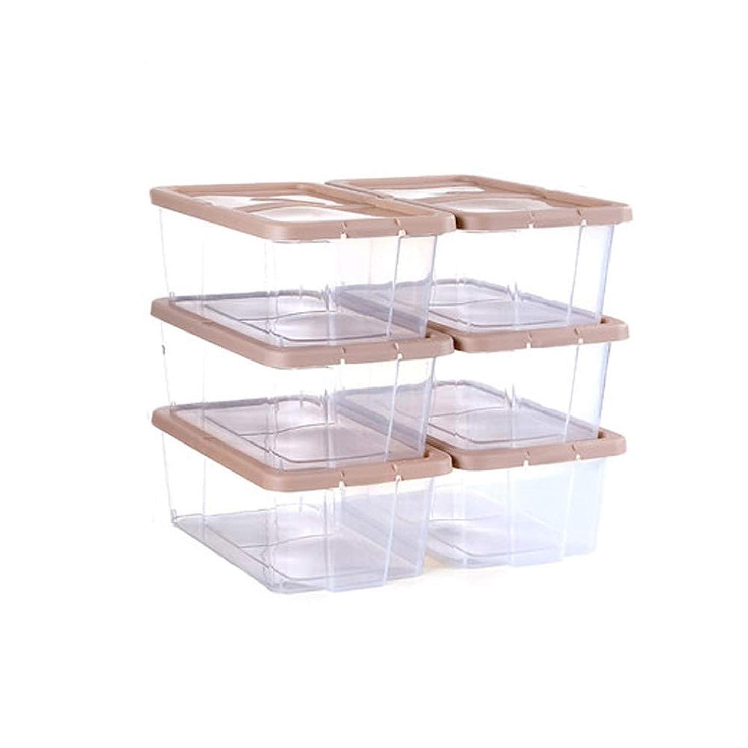 南東バンガロー法律によりHEHUIHUI- 靴箱、プラスチック製の靴箱、積み重ね可能な靴箱(6個) (Color : Brown)