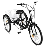 Adult Tricycle 3 Wheel Trike Bike 20 inch 7 Speed (Black)