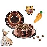 Set di piatti per cani piccoli e cuccioli a doppia rosa, in acciaio inox, antiscivolo, mangiatoia e abbeveratoio da 18 cm Ø per 300 g di cibo secco + giocattoli con ♪ ♫ da masticare.
