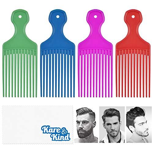 Kare & Kind Haarkamm - 4 Stück - Ideal für lockiges, gewelltes, Afro-Haar - Zum Stylen, Frisieren, Entwirren und Hochstecken der Haare - Glatter, sanfter Kamm für Männer, Frauen - Geschenk