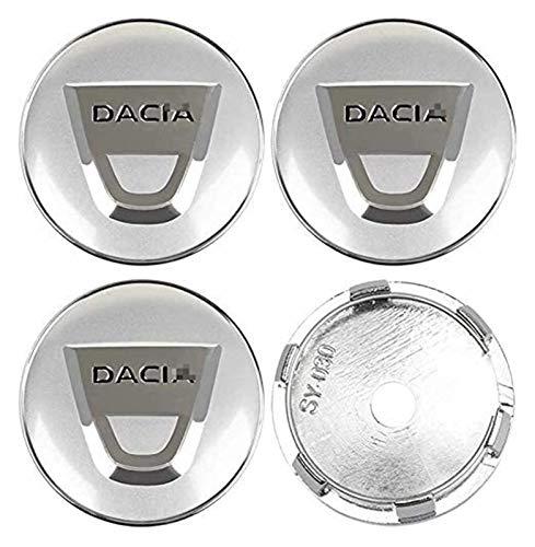 Boutique 4pcs Auto Wheel Hub Center Caps Cubiertas Cubiertas de 60 mm para Dacia Duster Logan SANDERO Lodgy Reemplazo Insignia Emblema Cubiertas Decorativas Rueda Recorte Coche Estilo Accesorio 123