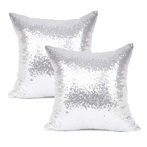 "LANANAS Decorative Square Throw Pillow Covers Set Super Soft Luxury Faux Fur Pillow Case Cover for Sofa Living Room 18 x 18 Inch Pack of 2 (18""x 18"", Pack of 2, Pearl White)"