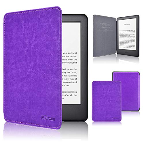 ACdream Slimshell Case for All New Kindle 10th Generation 2019 Released (NOT Fit Kindle Paperwhite or Kindle 8th Gen),Premium PU Leather Cover Case with Auto Wake Sleep Feather, Purple