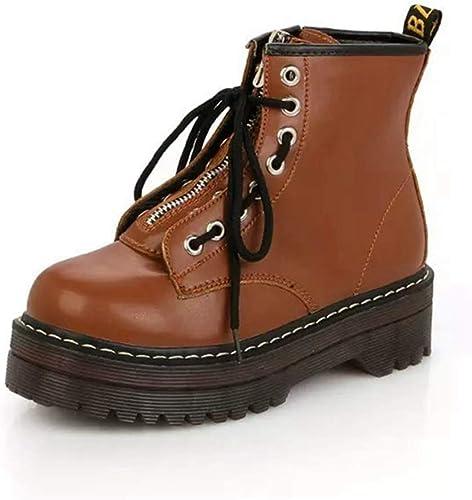 ZHRUI mujer plataforma de tacón Alto botas de Cuero de PU zapatos con Cremallera Planos zapatos con Cordones botas Martin (Color   marrón, tamaño   5=38 EU)