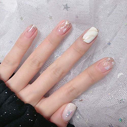 Fingernägel Sanfte Pulver Weißer Marmor Fleck Handgemachte Maniküre Fertig 24 Stück