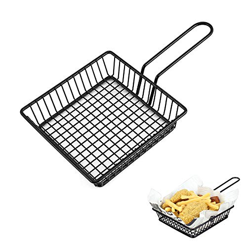 Mini Chips Fry Basket French Fries Holder Mesh Wire Square Fries Basket Strainer for Fried Food, Frying Serving Basket for Chips, Shrimps, Onion Rings, Kitchen Restaurant Table Serving Food Presentati
