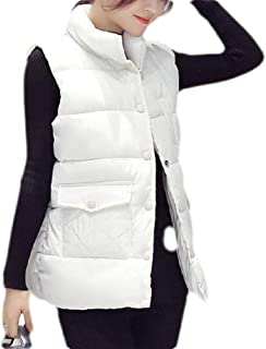Macondoo Women Warm Button Down Stand Collar Quilted Winter Down Vest Coat