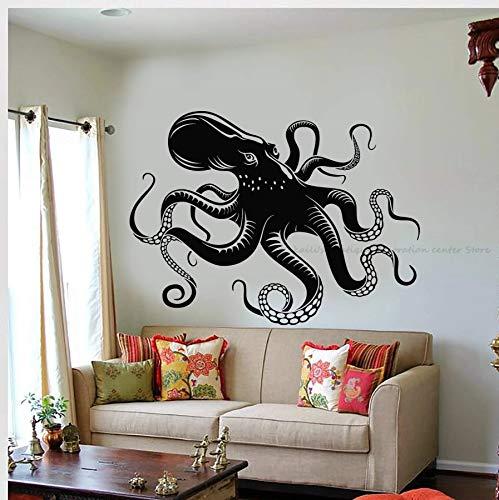 Pulpo tentáculo vinilo pared pegatina mar criatura sirena océano estilo baño decoración