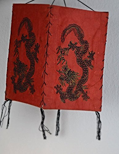 Tvamm-Lifestyle lampenkap van met de hand geschept lokta-papier patchwork Dragon Red