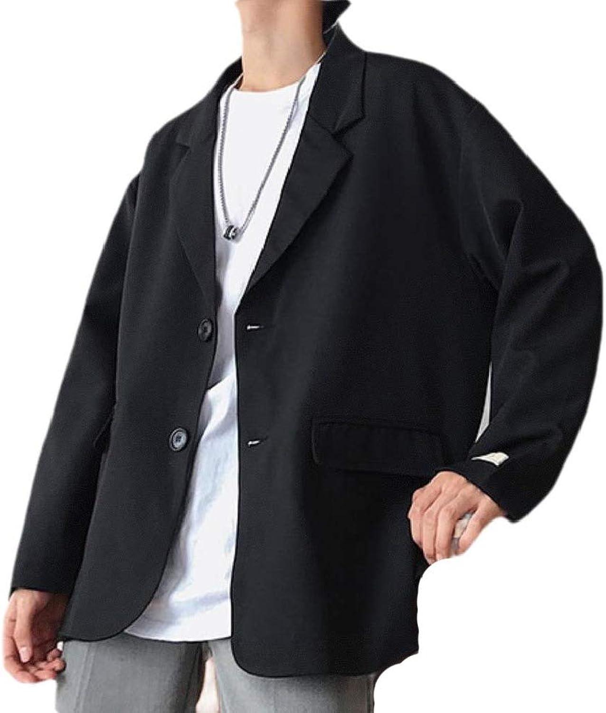 - Cobama Mens Mens Mens Solid colord 2 Button Notch Lapel Loose Blazer Jacket Suits d8714e