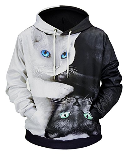 Pizoff(ピゾフ) パーカー 長袖 メンズ ネコ 猫柄 かわいい おもしろ カジュアル プルオーバー Y1901-01-XL