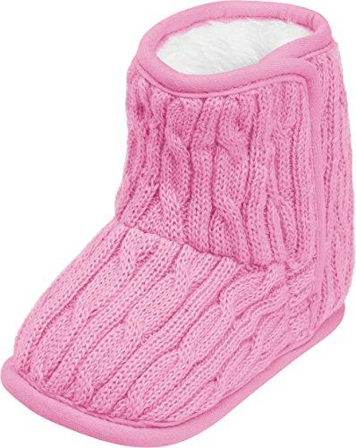 Playshoes gestrickte Baby-Schuhe mit Klettverschluss,Pink (rosa),18/19 EU