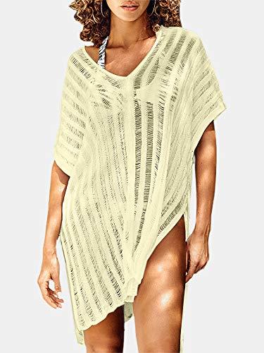 Traje de baño para mujer con cuello en V de ganchillo, hueco de color sólido, protección solar (color: beige, talla: talla única)