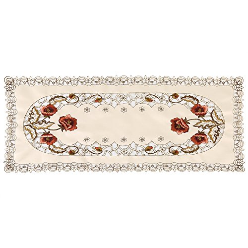 Mantel estilo europeo rojo floral elegante cubierta de mesa flor hueco bordado camino de mesa exquisito mantel pequeño decorar para bodas banquete TV gabinete mesa de centro(Rectangle)